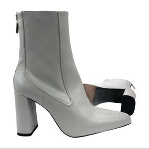 NWOT  Zara White Leather Ankle Boots Block Heel 38